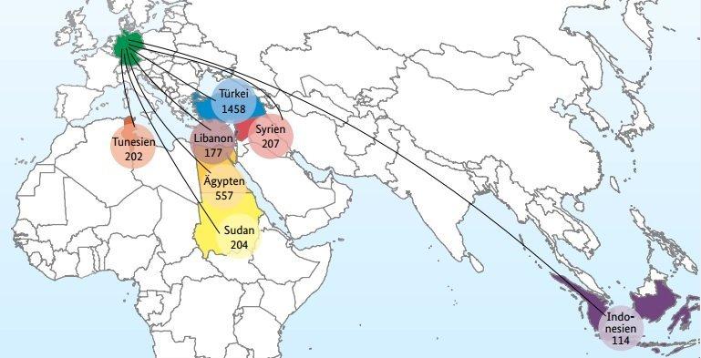 Réinstallations en Allemagne entre 2012 et 2017 par pays d'accueil : Tunisie (202), Liban (177), Egypte (557), Soudan (204), Turquie (1458), Syrie (207), Indonésie (114). Source: Bamf