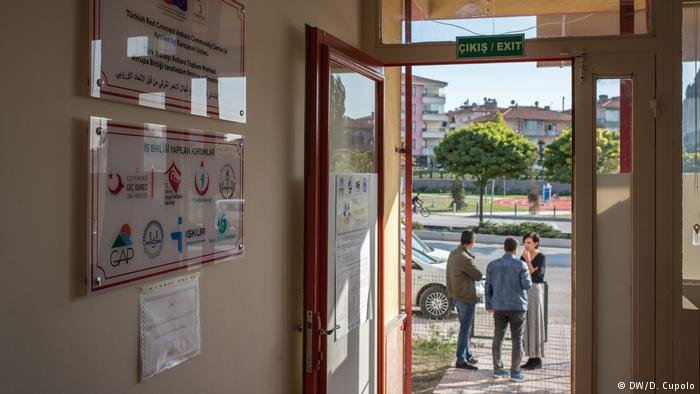 A sign at the buildings entrance reads Turkish Red Crescent Ankara Community Center is Funded by the European Union