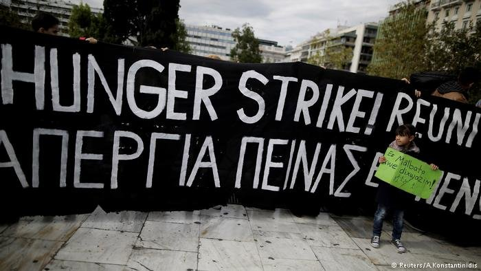 Protest of refugees in Athens who hope to reunite with family members in Germany