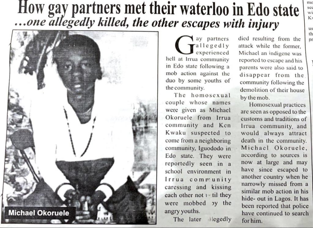 Des journaux du Nigeria évoquent l'histoire de Michael. Crédit : DR