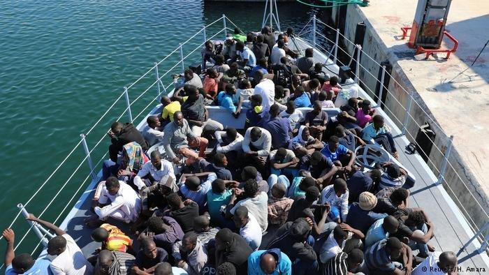 Migrants at a Tripoli Naval Base