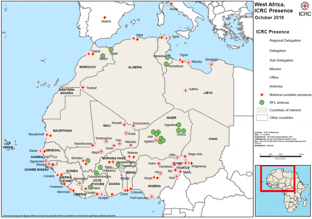 The green points indicate the locations where the ICRC has set up phone stands Photo ICRC