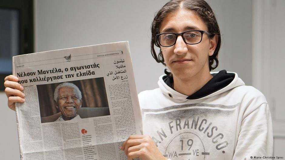 Mo Alrifai (18) likes to write brief profiles of popular personalities such as Nelson Mandela or Charlie Chaplin | Photo: Marie-Christine Spies