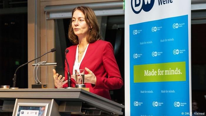 DW/T. Kleinod |وزيرة العدل الألمانية كاتارينا بارلي خلال ندوة بدويتشه فيله في نوفمبر/ تشرين الثاني 2018 (أرشيف)