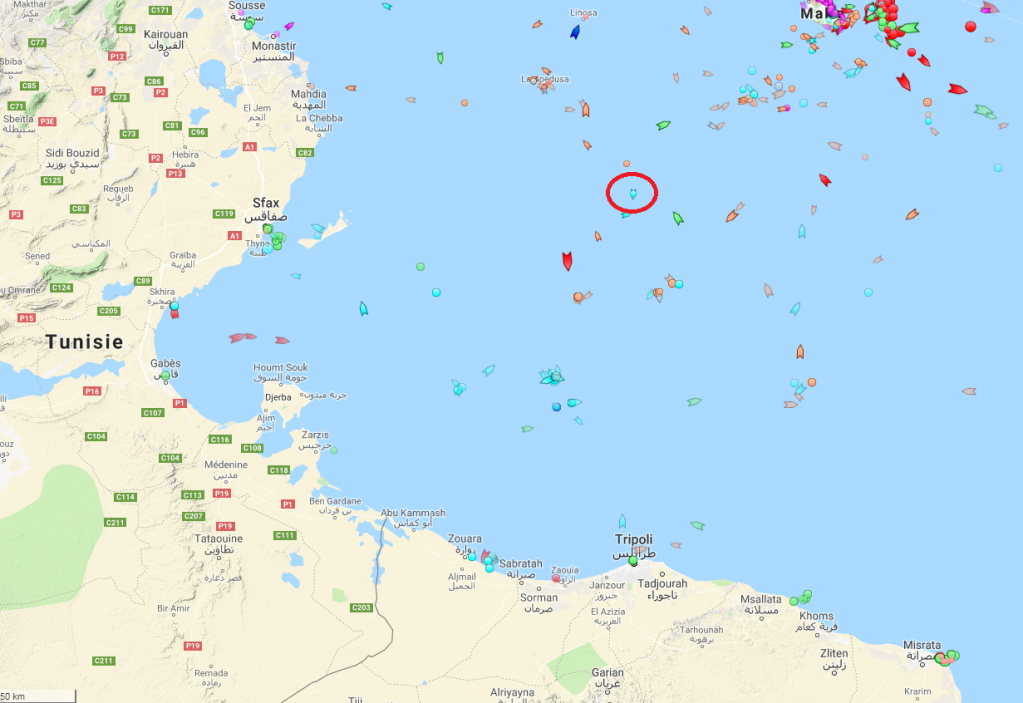 Position du Sea Watch 3 le 10 juin 2019  12h