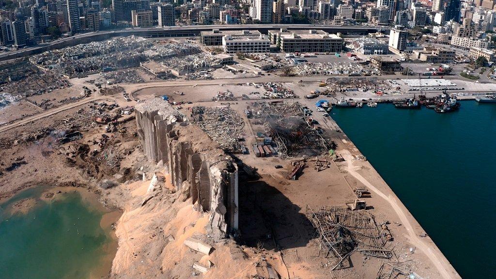 مشهد بانورامي لمرفأ بيروت بعد الانفجار، 6 آب/أغسطس 2020. رويترز