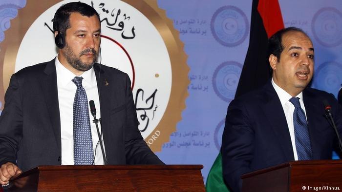 Italy's far-right interior minister, Matteo Salvini (left), traveled to Libya in June