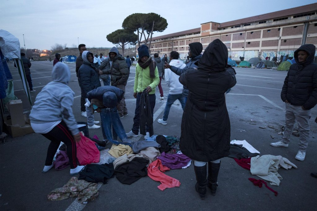"Migrants in the tent camp called ""Baobab Camp"" near the Tiburtina railway station in Rome, Italy 