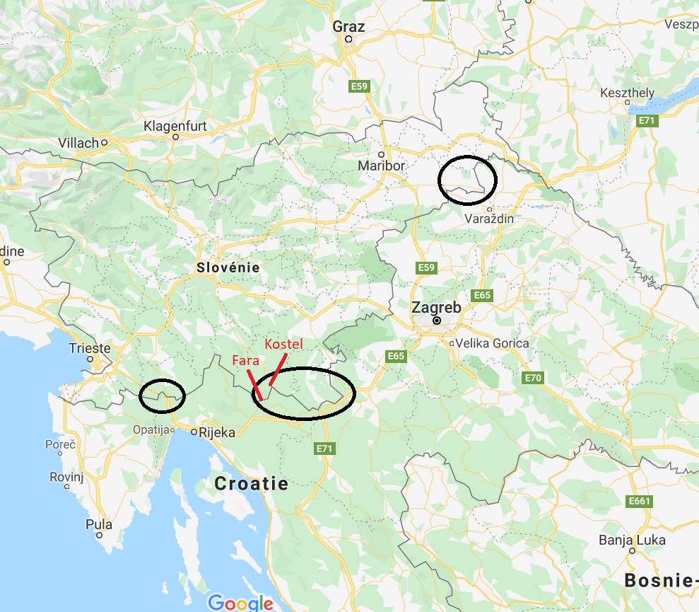 En noir, les principaux points d'entrée des migrants de Croatie en Slovénie.