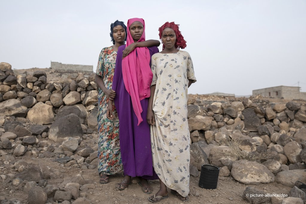 16-year old Ethiopian migrants Hamdiya Ikram and Safeya from right to left pose for a portrait at a slum where they took shelter after entering Djibouti  Photo picture-allianceAP PhotoNariman El-Mofty