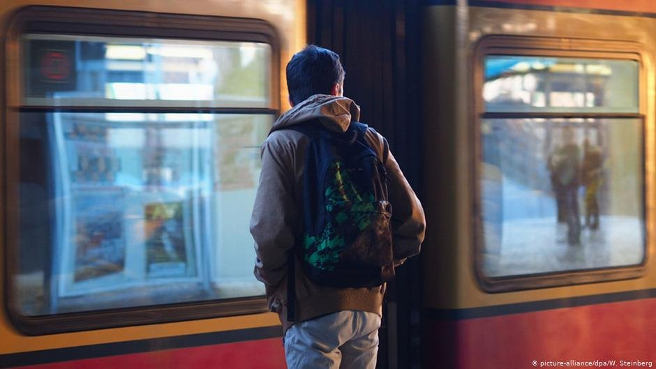 A young migrant at an S-Bahn train station in Berlin 2017  Photo picture-alliance