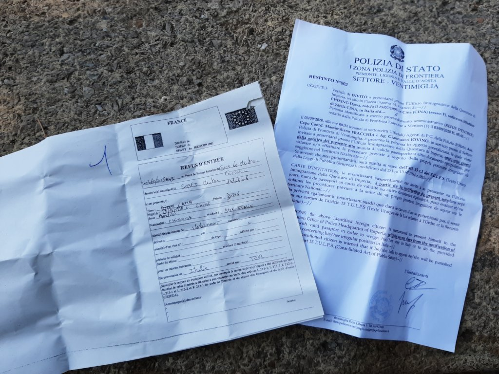 "A ""refusal of entry"" from the French police and a summons from the Italian police 