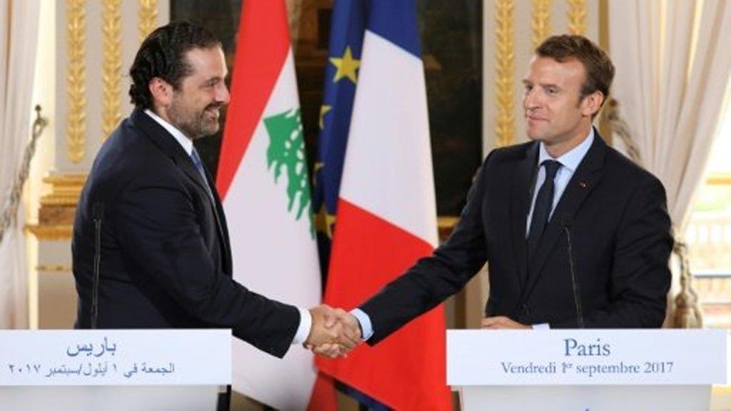 أ ف ب/ |الرئيس الفرنسي إيمانويل ماكرون  مع رئيس الوزراء اللبناني سعد الحريري في الإليزيه 01 أيلول/سبتمبر 2017