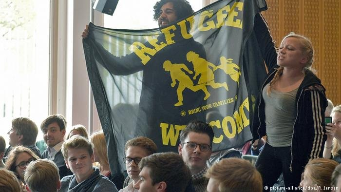 Students showing their support for refugees in Berlin