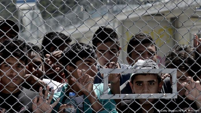 Refugees at the Greek camp Moria on Lesbos