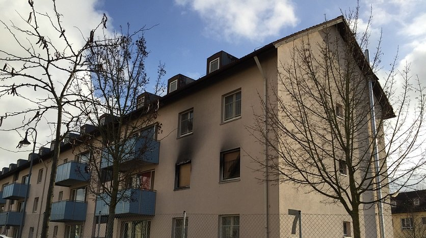 A fire destroyed apartments at the Bamberg Ankerzentrum in late 2018 which have yet to be restored December 10 2019  Photo InfoMigrantsM MacGregor