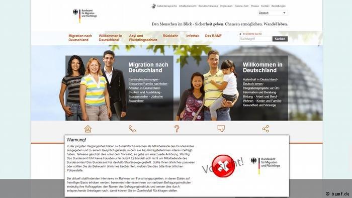 Screenshot of BAMF website
