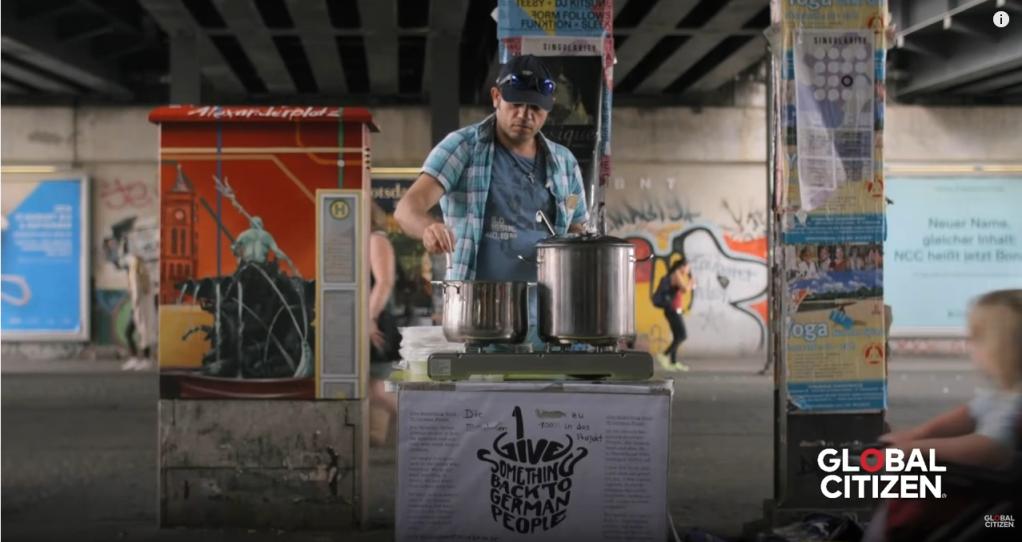 A screenshot of Alex Assali and his soup kitchen from the Global Citizen video  Source Screenshot Global Citizen