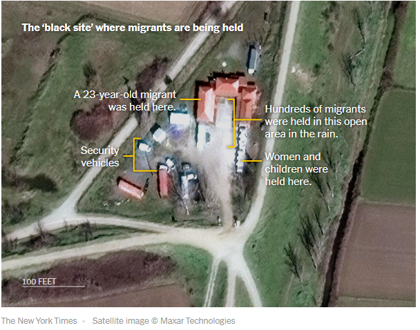 A screenshot from the New York Times article showing a satellite image of the site where the paper says the Greek government is holding migrants  Source Screenshot New York Times