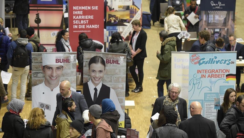 La foire à l'emploi réservée aux réfugiés, à Berlin en Allemagne, le 29 février 2016. Crédit : AFP