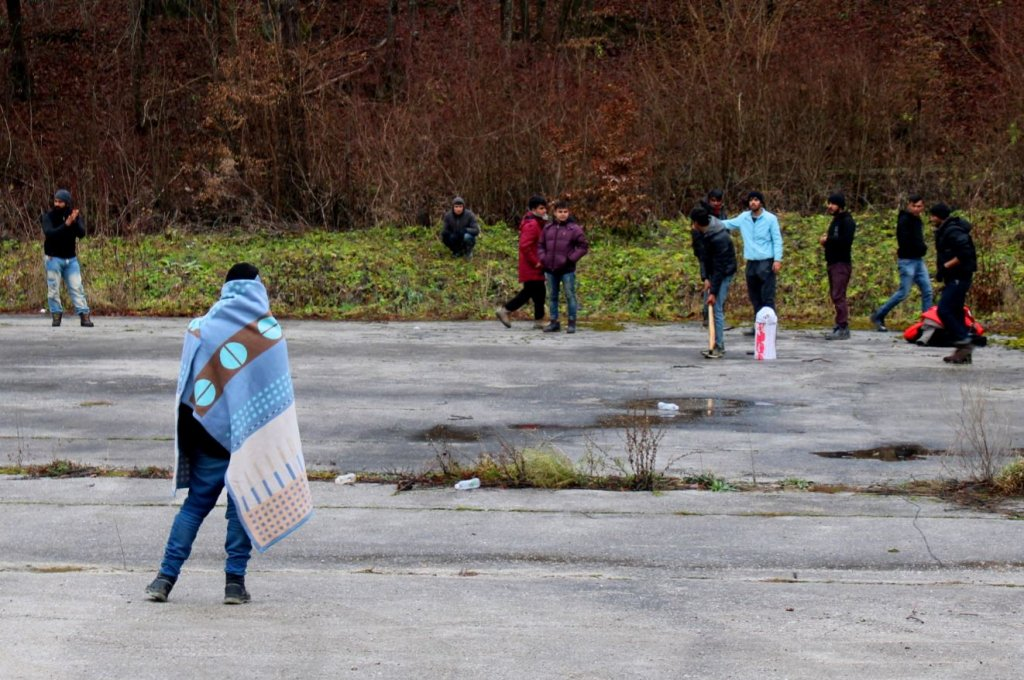 Playing cricket in the new IOM centers near Sarajevo | Source: IOM Bosnia & Herzegovina Facebook site