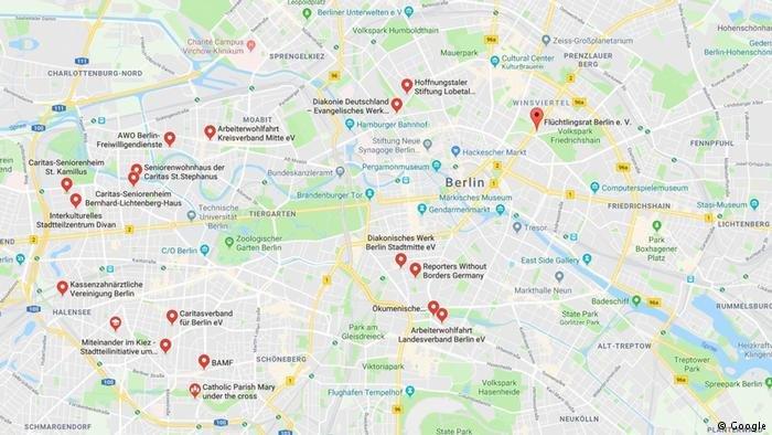 خريطة تظهر المنظمات التي تساعد اللاجئين في برلين