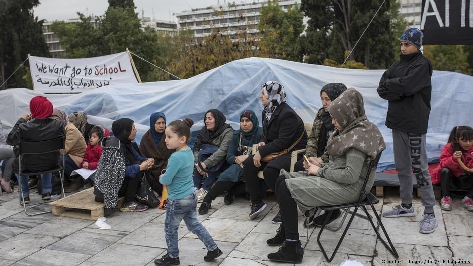 Des réfugiés à Athènes en Grèce manifestent pour le regroupement familial (novembre 2017)