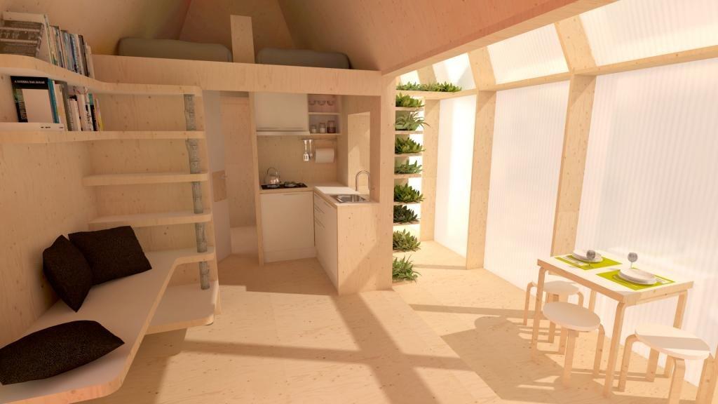 Modélisation de l'intérieur de la micro maison. Crédit : Quatorze / D.A.T. Pangea