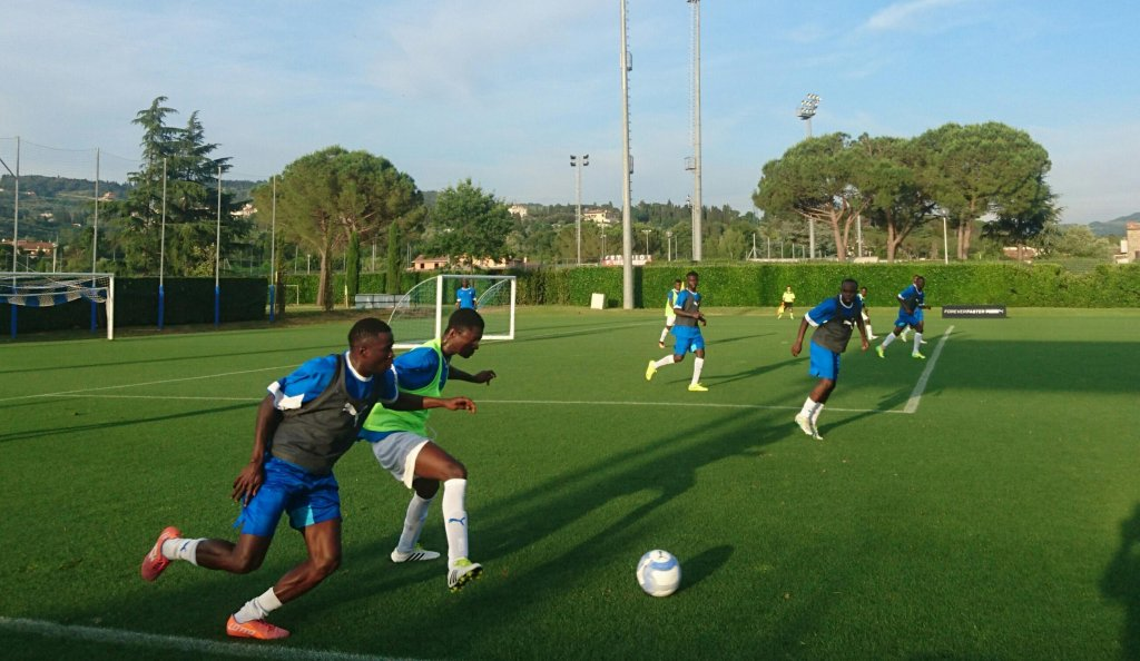 Young refugees play in the FICG stadium in Coverciano (Florence) in the final match of a tournament organized with la Cattolica University, June 2017 | Credit:  ANSA/archive