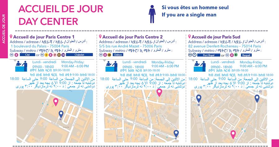 Les centres d'accueil de jour à Paris. Crédit : France Terre d'asile