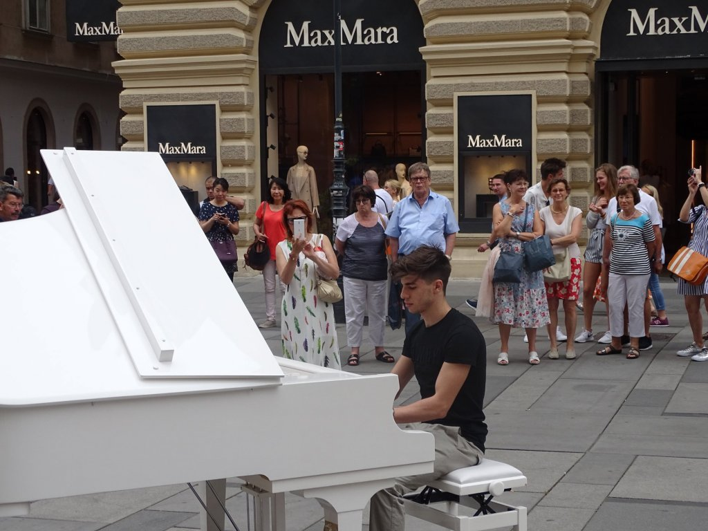 An amateur musician playing a public piano Credit Open Piano for Refugees