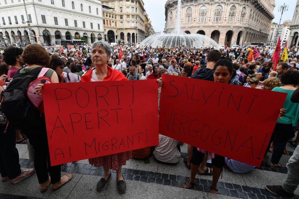 Protesters in Genoa   Credit: ANSA