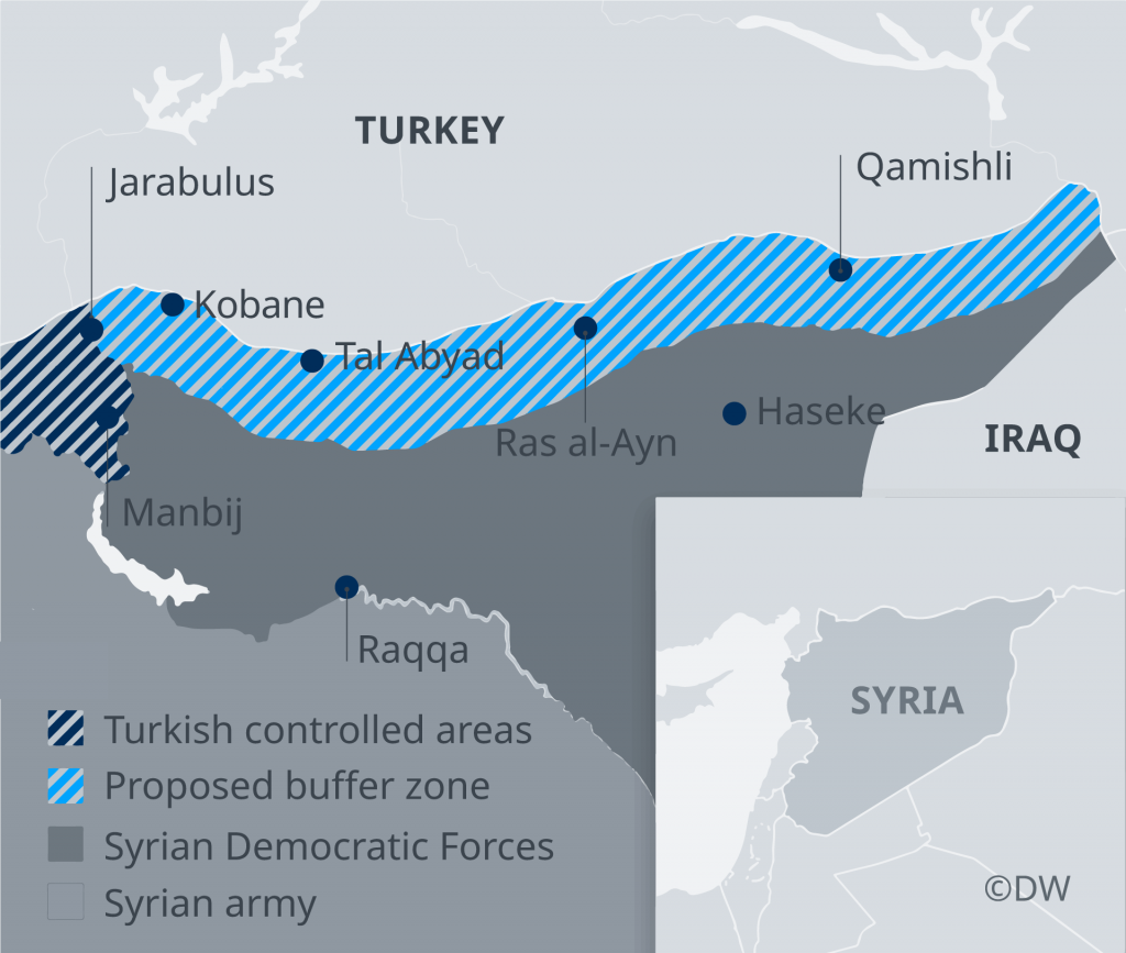 Map showing border region between Turkey and Syria  Credit DW