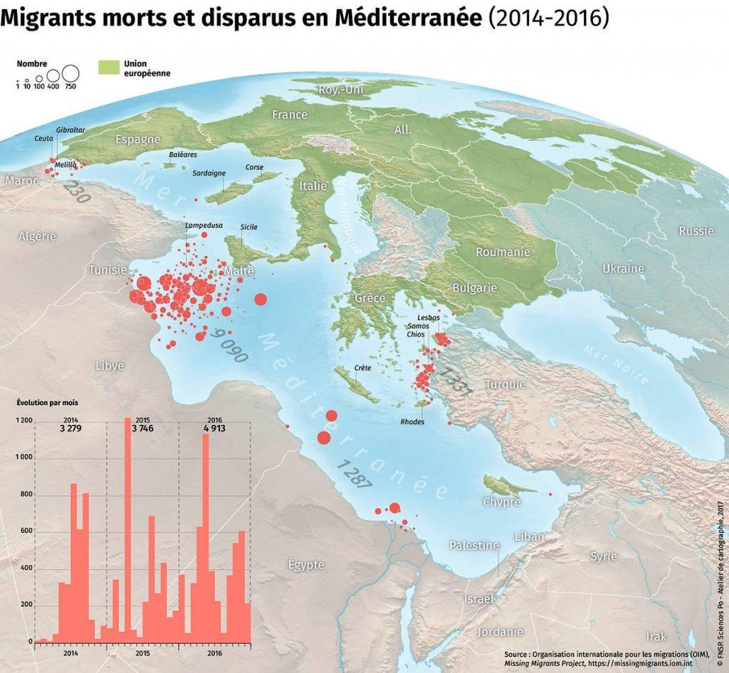 En rouge, le nombre de morts en Méditerranée. L'Aquarius s'appuie sur ces données de l'Organisation internationale des migrations (OIM) pour définir sa SAR zone. Crédit : OIM