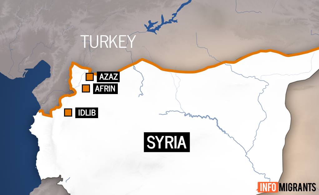 Map of border region between Syria and Turkey