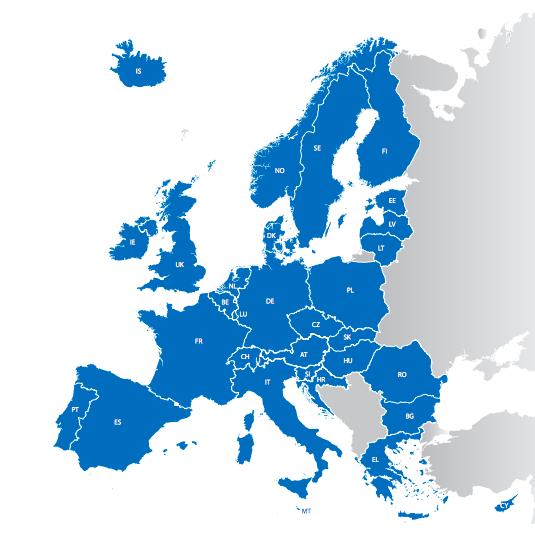 En bleu, les pays membres du règlement de Dublin | Source : Union européenne
