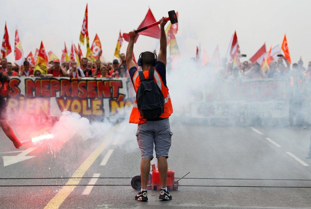 Image d'illustration d'une manifestation de grévistes en juin 2018. Crédit : Reuters