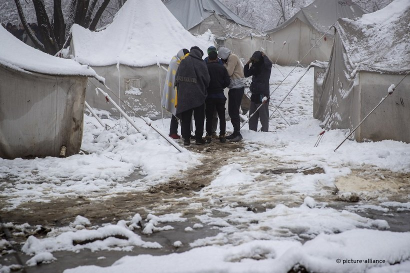 Tents are under snow as temperatures drop below zero at the Vucjak refugee camp outside Bihac northwestern Bosnia December 3 2019  Photo APDarko Bandic