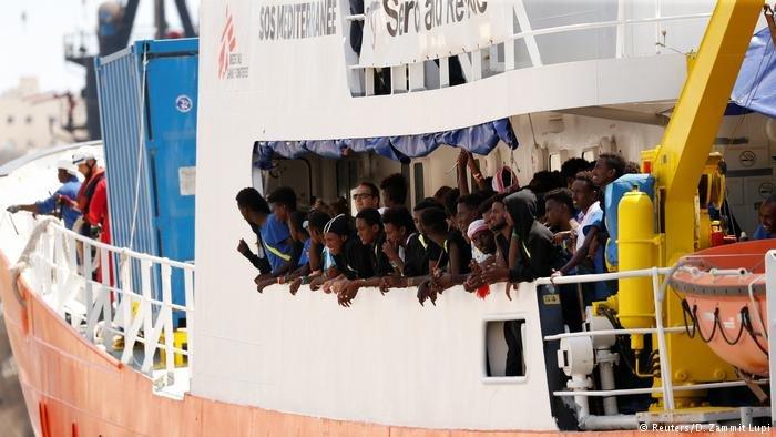 Migrants onboard the humanitarian ship Aquarius