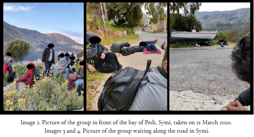 Pictures of migrants sitting on land in Symi after arriving by boat | Source: Legal Centre Lesvos