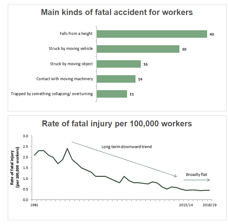 A screenshot from an HSE report showing the rate of death in different injuries in the UK  Source HSE Statistics UK