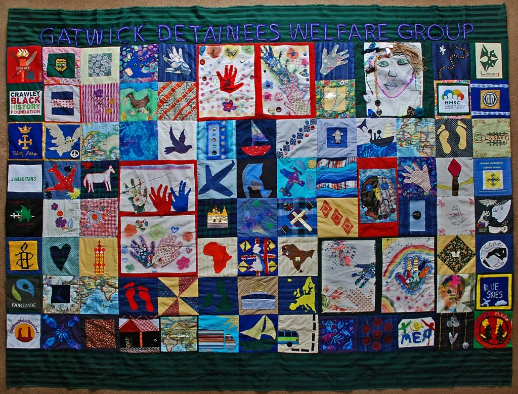 A quilt made for the Gatwick Detainees Welfare Group  Photo John Barrett