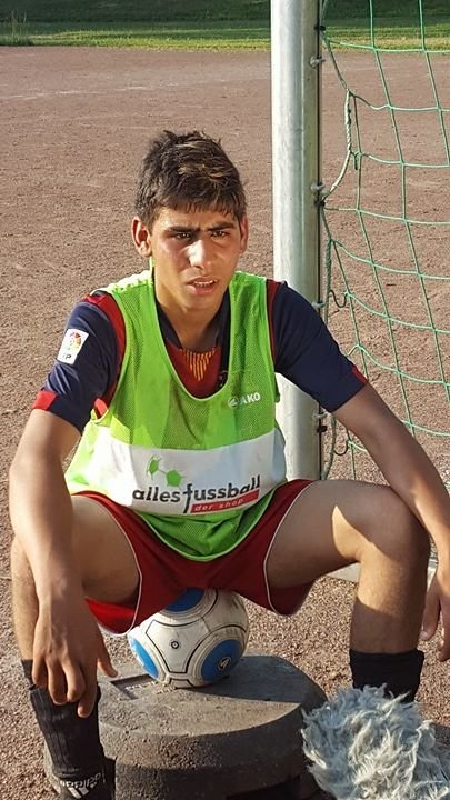Alaa from Syria hopes the football practice will help improve his German