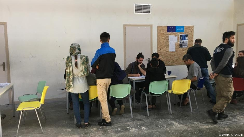Refugees and migrants register for language and integration courses at Thiva camp in Greece