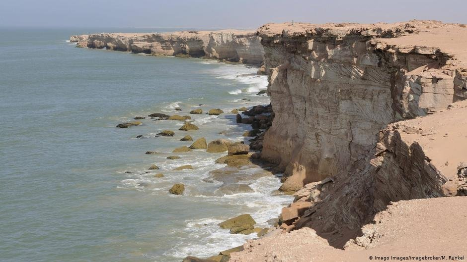 Sandstone cliffs at Cap Blanc near Nouadihibou Mauritania  Photo ImagoimagebrokerMRunkel