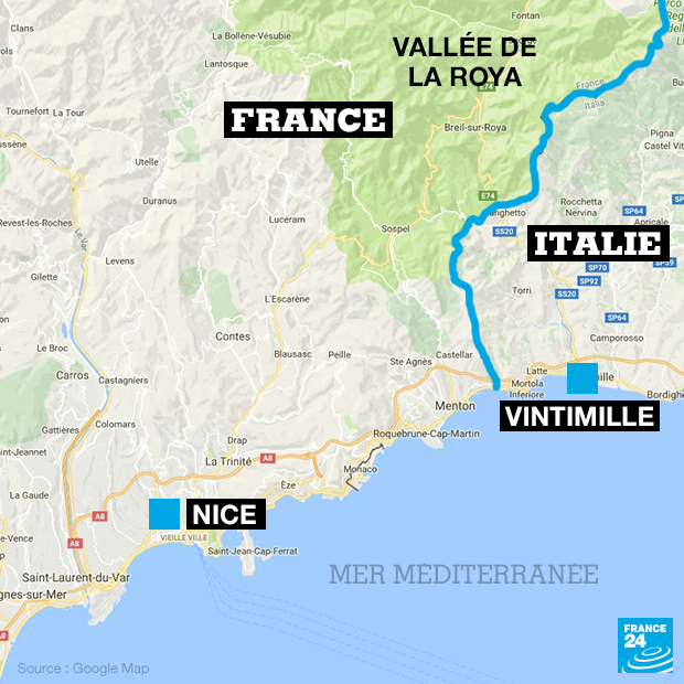 Carte de la vallée de la Roya, à la frontière franco-italienne