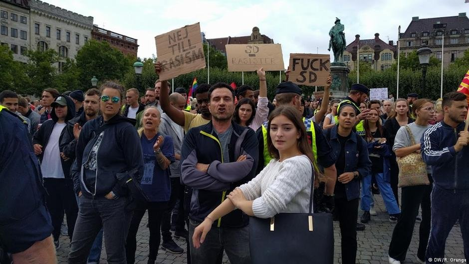 Protest against Jimmie Akesson in Malmö, Sweden, on September 3, 2018
