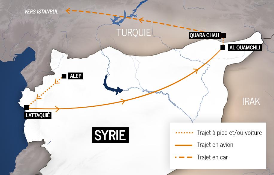Le trajet de Joude pour sortir de Syrie