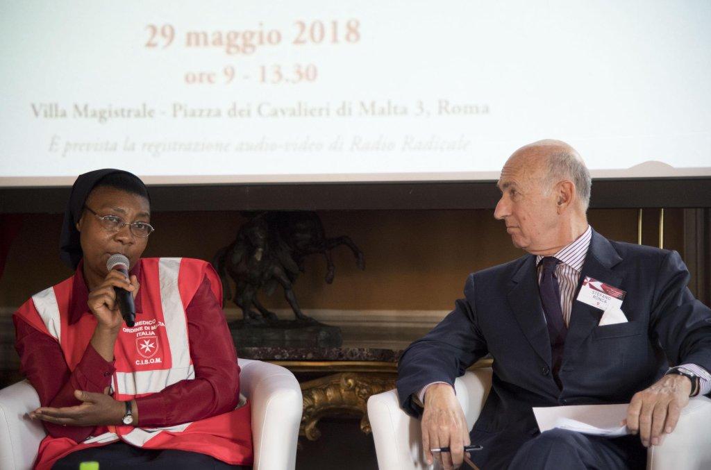 "ansa / جانب من المؤتمر الذي عقدته منظمة ""فرسان مالطا"" في روما. المصدر: ماوريزيو برامباتي/ أنسا."