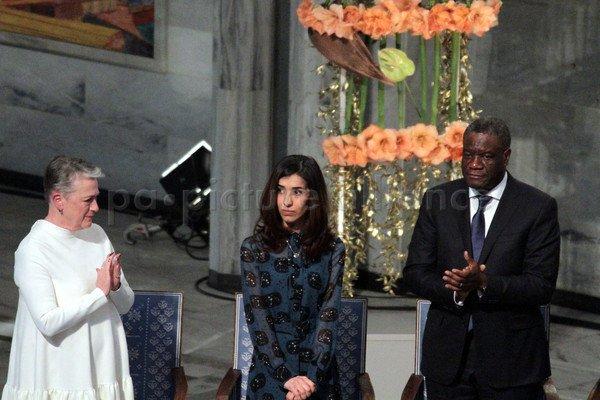 Nobel Peace Prize laureates Denis Mukwege (R), Nadia Murad
